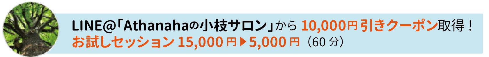 LINE@「Athanahaの小枝サロン」から10,000円引きクーポン取得! お試しセッション15,000円▼5,000円(60分)